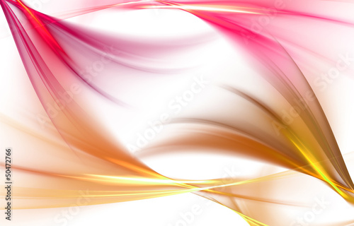 Elegant pink and gold waves on white background
