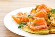 potato pancakes with salted salmon