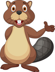 Cute beaver cartoon waving hand
