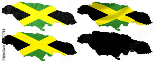 Jamaica flag over map collage