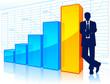 Businessman beside a growing chart