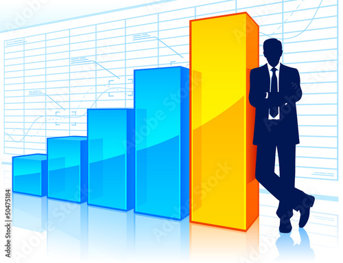 Businessman beside a growing chart