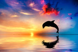 Fototapety Beautiful ocean and sunset, dolphin jumping