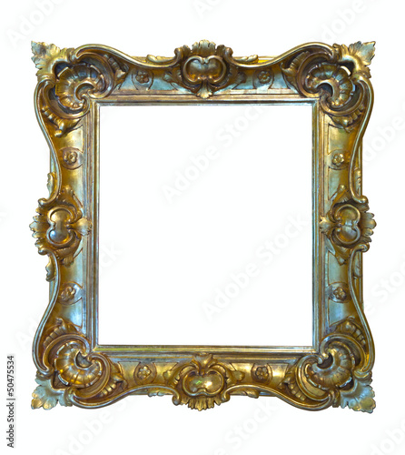 Luxury gilded frame. Isolated over white