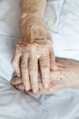 Hands of elderly lady-series of photos