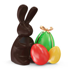 Chocolate Easter Bunny and Colorful Easter Eggs