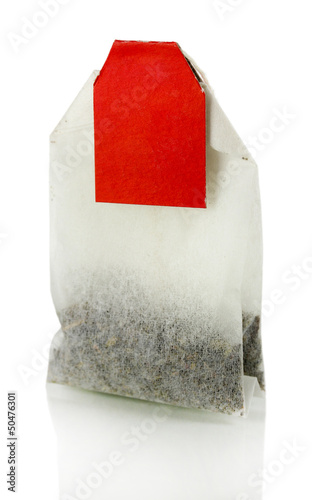 Tea bag isolated on white.