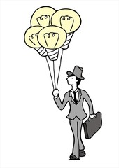 salesman with incandescent lamp Balloon sketch vector