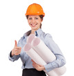 Woman - engineer in a protective helmet