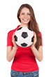 Athletic girl holding a soccer ball