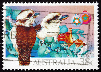 Postage stamp Australia 1990 Kookaburras, Kingfisher Bird, Chris