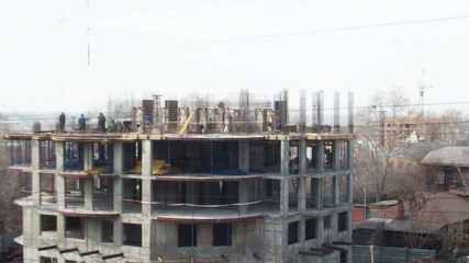 Time lapse during the construction of two floors in the house