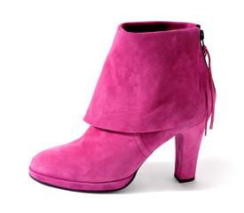 Pink suede high heel bootie with big hem