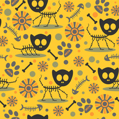 Seamless pattern with cute cat skeletons