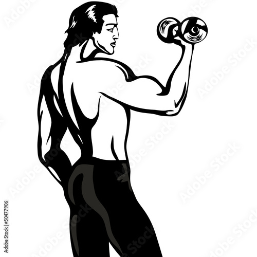 a man with a dumbbell