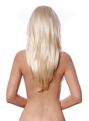 blonde hair, back side of young woman with straight blonde hair