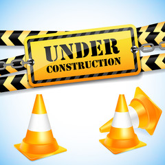 Under construction page with traffic cones.