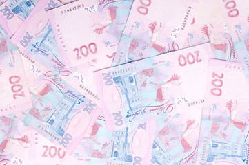 Background of national currency notes. Ukrainian currency.