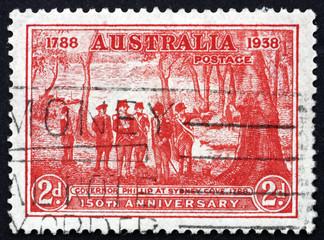Postage stamp Australia 1937 Governor Arthur Phillip at Sydney