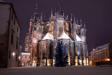 Christmas in Prague, the cathedral of St. Vitus
