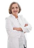 Ältere Dame - Ärztin oder Medizinerin isoliert in Weiß