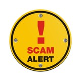 scam alert circle sign poster
