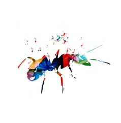 Colorful vector ant background with hummingbirds