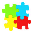 colorful puzzles frontal view