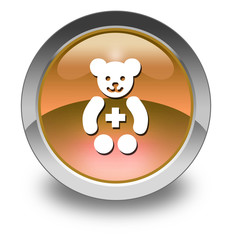 "Orange Glossy Pictogram ""Pediatrics"""