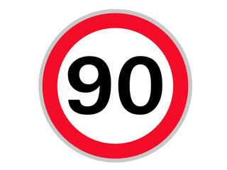 Verkehrszeichen 90 km/h