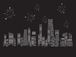 fireworks city vector illustration