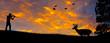 Leinwandbild Motiv Rifle Hunting Silhouette