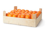 Retail crate of ripe tangerines