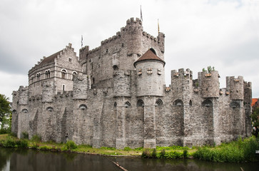 Fortified Gravensteen Castle in the town of Ghent, Belgium