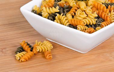 Rotini pasta in different colors