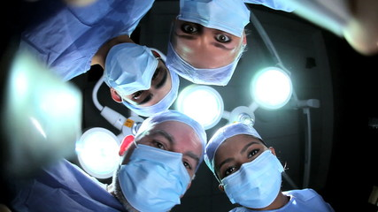 Patient POV Multi Ethnic Surgical Team in Operating Theater