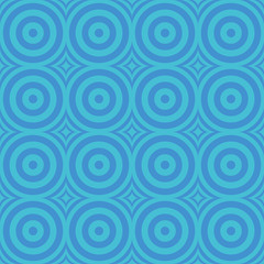 Circles and rhombuses seamless blue pattern