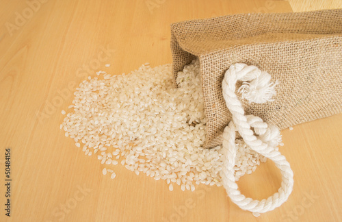 Pile of rice beans with wooden background