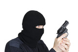 man in a mask with a gun on a white background