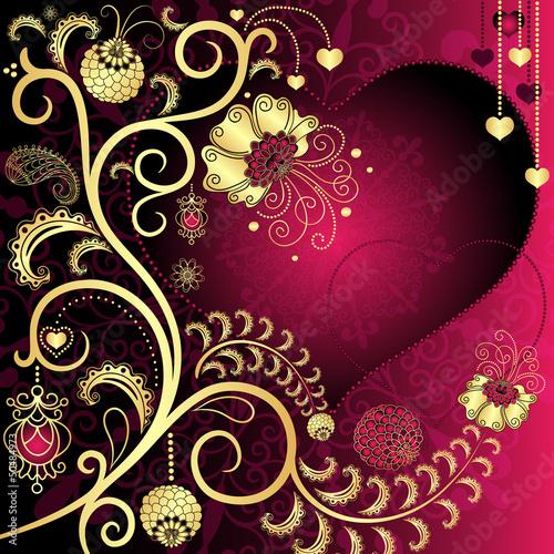 Purple and gold vintage valentine card