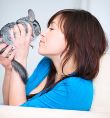 Woman with chinchilla