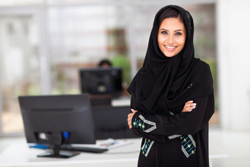 Muslim businesswoman in office
