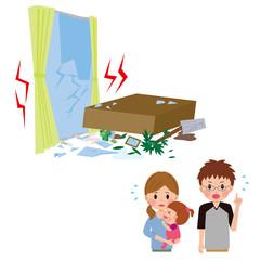 地震にあう家族