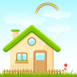 vector illustration of house in nature with rainbow