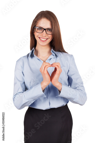 Happy woman put her hands in the form of heart