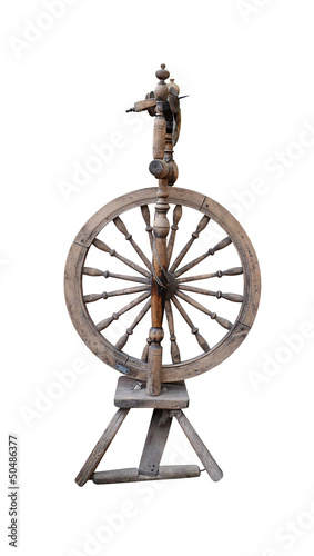 distaff spinning wheel isolated on white background