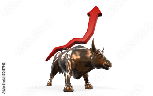 Charging Bull with Business Arrow