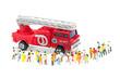 消防車と人々の群集