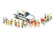 タクシーを囲む人々