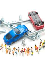 故障した車と人々